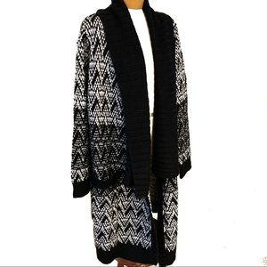 Tahari Black/White Knit Long Duster Cardigan 3X